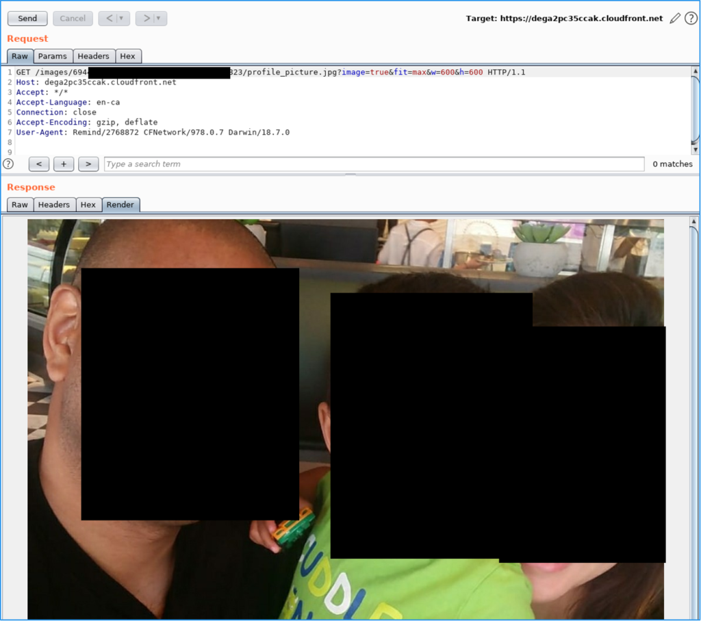 Rendered image retrieved through CloudFront without being authenticated.